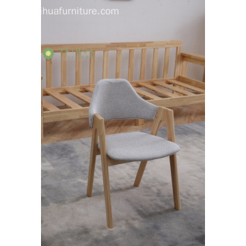 Light Rubber Wood Low Back Fabric Dining Chair